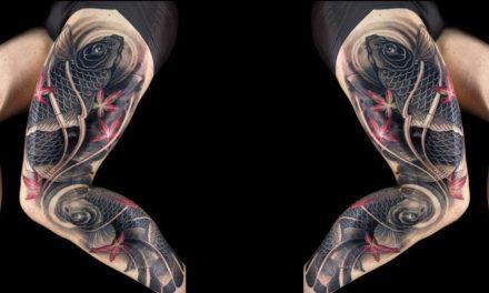 Increible tatuaje de estilo oriental japonés con koi carpa