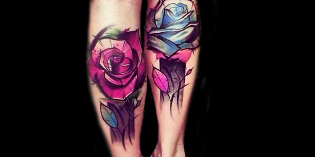 Delicados y originales tatuajes de rosas a todo color de estilo abstracto y acuarela/watercolor